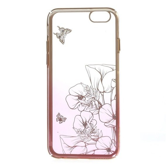 Gold Bumper + PC Back Case for iPhone 6/6S 4.7 - Pink / Flower&Butterfly