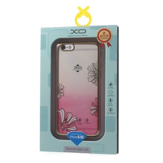 Gold Bumper + PC Back Case for iPhone 6/6S 4.7 - Pink / Lucky Clover