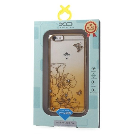 Gold Bumper + PC Back Case for iPhone 6/6S 4.7 - Yellow / Flower&Butterfly