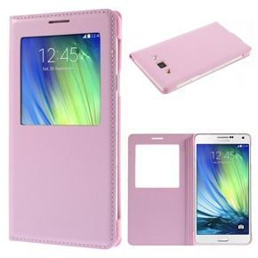 Window View Flip Case for Samsung Galaxy A7 SM-A700F - Pink