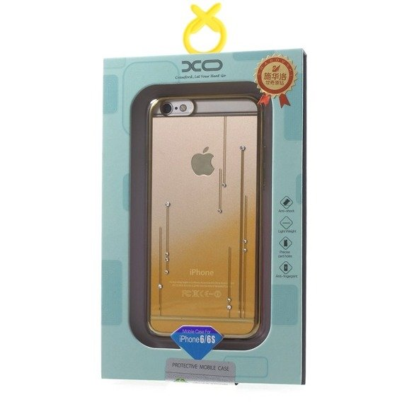 Gold Bumper + PC Back Hülle für iPhone 6/6S 4.7 - Gelb / Meteor Shower