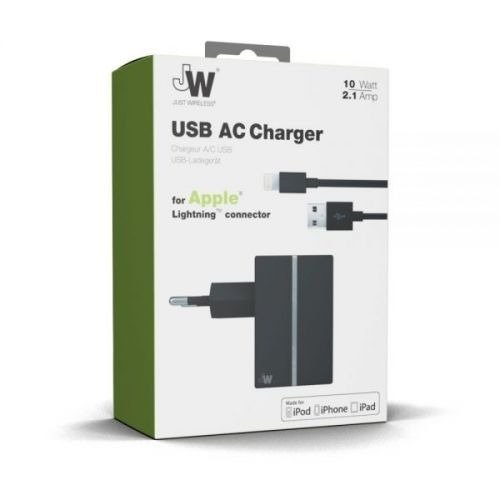 Just Wireless 2.1A Lightning Travel Charger - Black