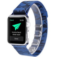 Metalowy Pasek Milanese do Apple Watch 1/2/3 42mm - Camouflage / Blue + Szkło Mocolo TG+3D