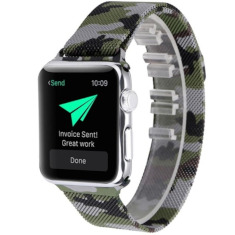 Metalowy Pasek Milanese do Apple Watch 1/2/3 42mm - Camouflage / Army Green