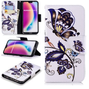 Etui Flexi Book Huawei P20 Lite - Butterfly and Flower
