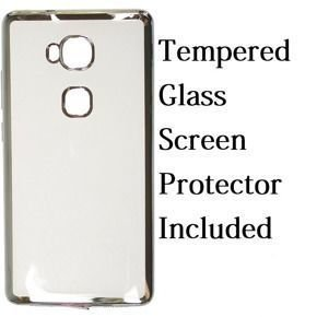 Plated TPU Protective Shell Cover for Huawei Honor 5X - Silver + Tempered Glass Screen Protector