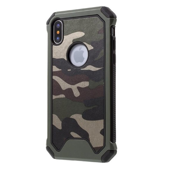 Camouflage Leather Coated Hybrid Case for Apple iPhone X 5.8 - Green