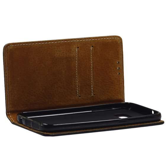 Leather Flexi Book Case for Samsung Galaxy S7 - Black