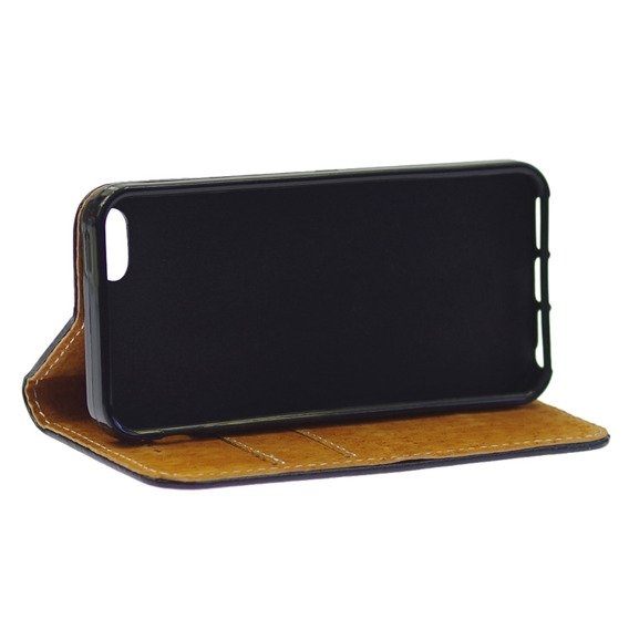 Leather Flexi Book Case for iPhone 5 / 5S / SE - Black