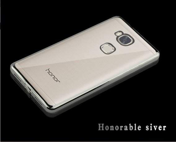 Vernickelt Edges Klare TPU für Huawei Honor 5X - Silber + Tempered Glass Screen Protector