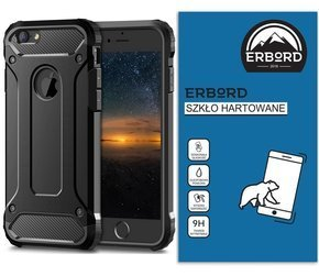 Zestaw - Etui TECH ARMOR do iPhone 8/7 - Black + Szkło 9H