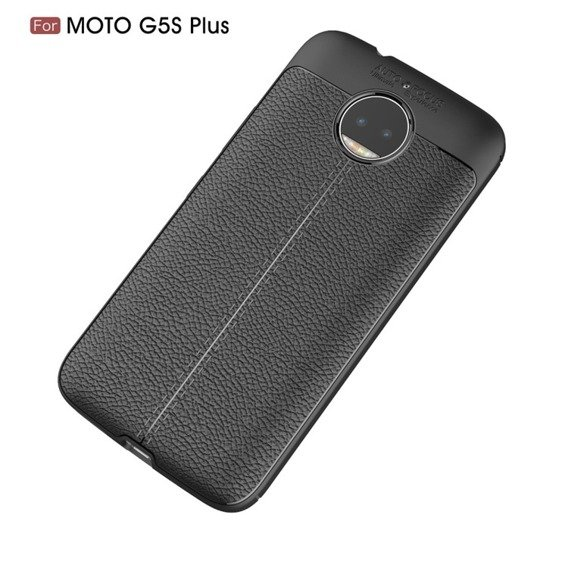 Czarne Etui Football Grain TPU Case Motorola Moto G5S Plus