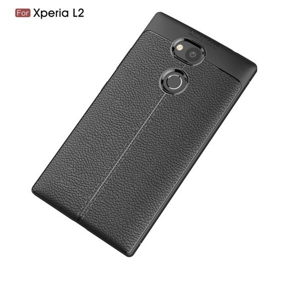 Czarne Etui Football Grain TPU Case Sony Xperia L2