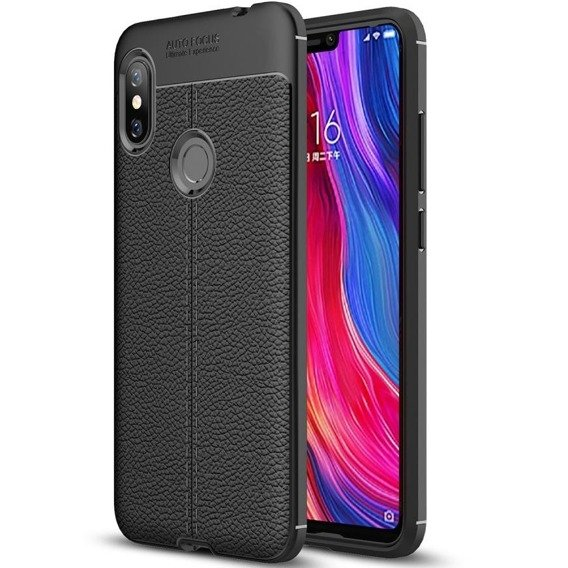 Czarne Etui Football Grain TPU Case Xiaomi Redmi Note 6 Pro