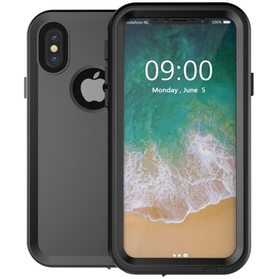 Czarne Etui Waterproof 10M 24H Case Apple iPhone X 5.8