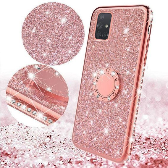 Etui Bling do Samsung Galaxy A71, Rose Gold