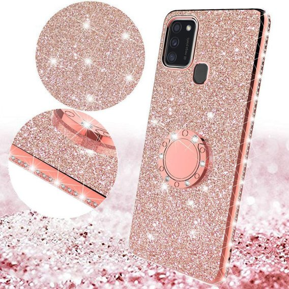 Etui Bling do Samsung Galaxy M21, Rose gold
