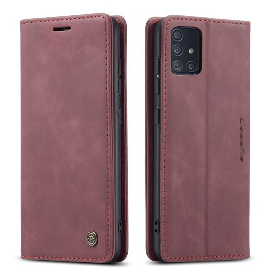 Etui CASEME do Samsung Galaxy A51, Leather Wallet Case, Wine Red
