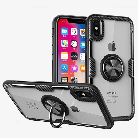 Etui Clear Ring do iPhone X / XS - black