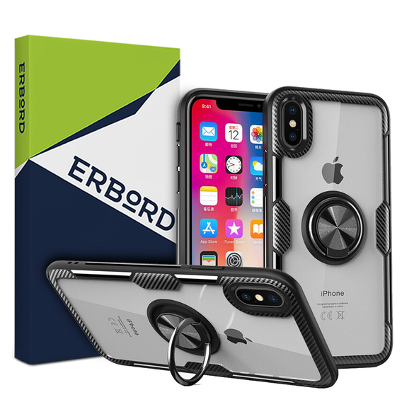 Etui Clear Ring do iPhone XR - carbon black