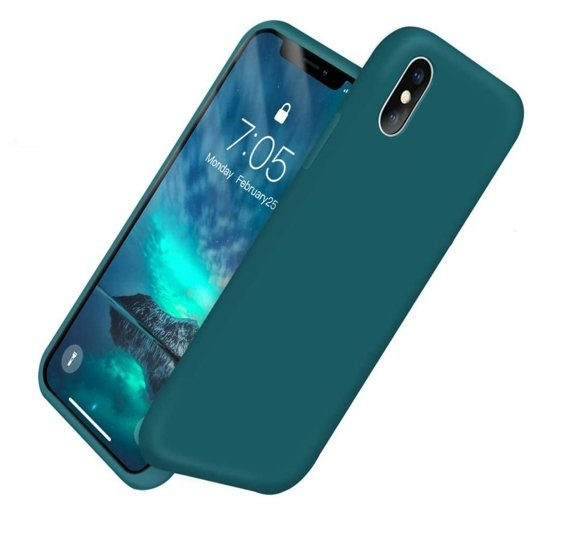 Etui ERBORD Silicon Lite do iPhone X/XS - bottle green