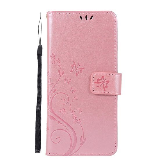 Etui Flexi Book Butterfly Flower do Samsung Galaxy A51 - Rose Gold