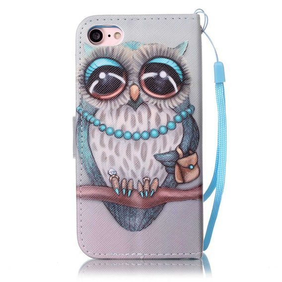 Etui Flexi Book do iPhone 7/8/SE 2020 - Owl Wearing Blue Bead Necklace