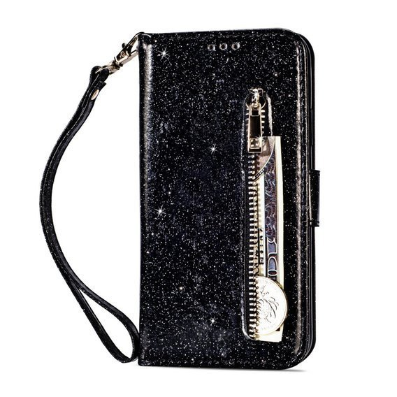 Etui Glitter Powder Zippered Wallet do Huawei P20 Lite - Black