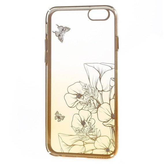Etui Gold Bumper + PC Back iPhone 6/6S 4.7 - Yellow / Flower&Butterfly
