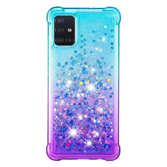 Etui Liquid Glitter do Samsung Galaxy A51 - Dropproof - Purple/Baby Blue