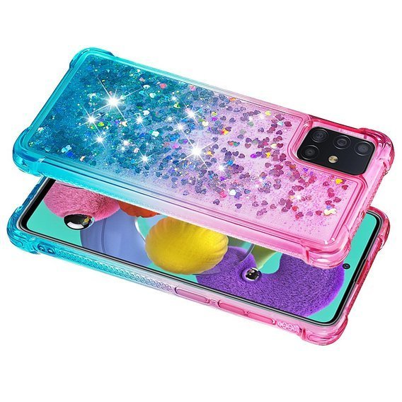 Etui Liquid Glitter do Samsung Galaxy A51 - Dropproof - Rose/Baby Blue
