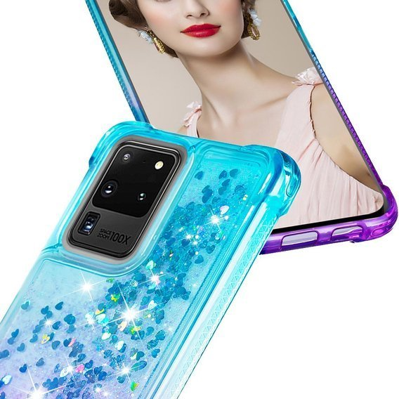 Etui Liquid Glitter do Samsung Galaxy S20 Ultra - Dropproof - Purple / Baby Blue