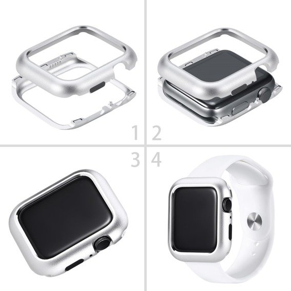 Etui Magnetic Metal Frame do Apple Watch 4 44mm - Silver