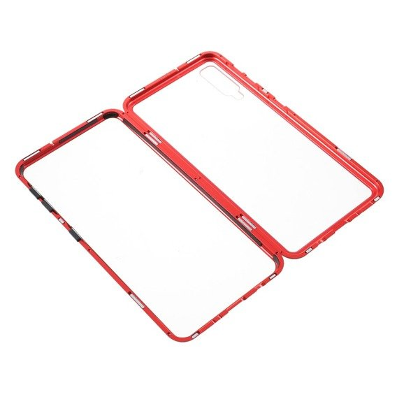 Etui Magnetic back glass do Samsung Galaxy A7 2018 - Red