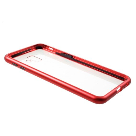 Etui Magnetic back glass do Samsung Galaxy J6+ Plus - Red