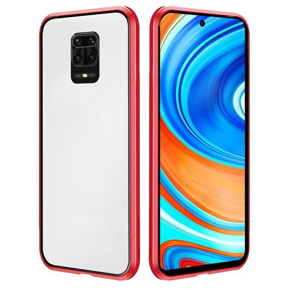 Etui Magnetic dual glass do Xiaomi Redmi Note 9S/9 Pro/9Pro Max - Red