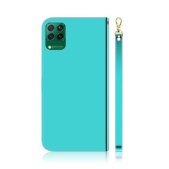 Etui Mirror-like Leather Wallet Case do Huawei P40 Lite - Cyan