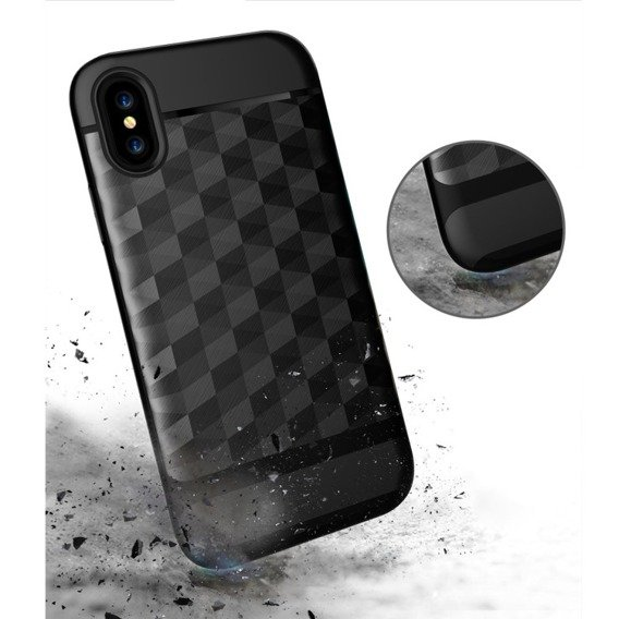Etui Rhombus Hybrid Gel Case Apple iPhone X 5.8 - Black