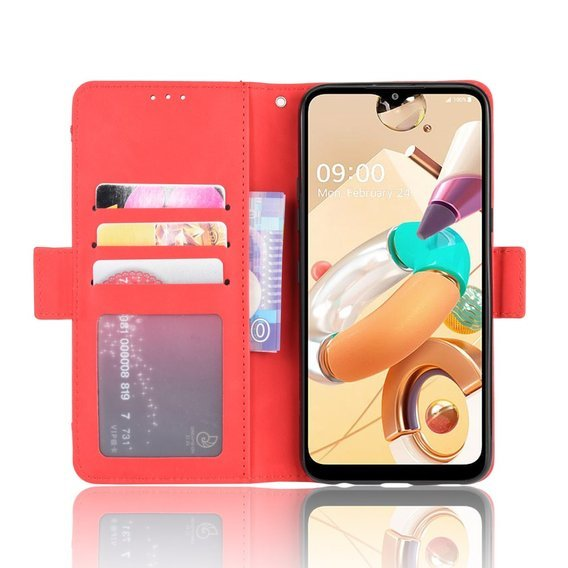 Etui Wallet do LG K51S - Card Slot - Red