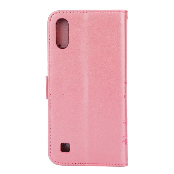 Etui Wallet do Samsung Galaxy A10, Butterfly Flower, Rose Gold