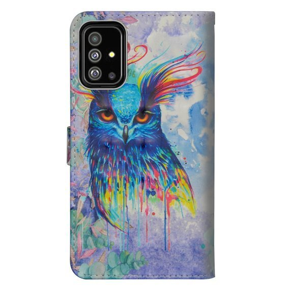 Etui Wallet do Samsung Galaxy A51, Light Spots Decor, Colorful Owl