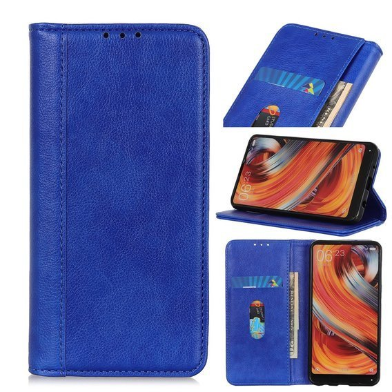Etui Wallet do Xiaomi Redmi 9 - Litchi Leather - Blue