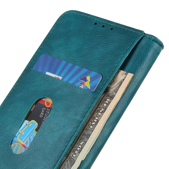 Etui Wallet do Xiaomi Redmi 9 - Litchi Leather - Green