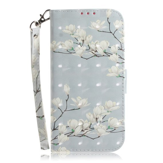 Etui Wallet do Xiaomi Redmi Note 9S / 9 Pro / 9 Pro Max - White Flowers