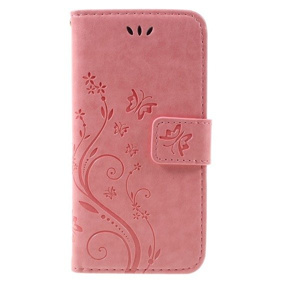 Etui Wallet do iPhone 7/8/SE 2020 - Butterfly - Pink