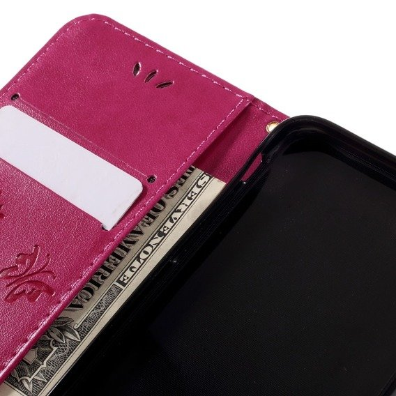 Etui Wallet do iPhone 7/8/SE 2020 - Butterfly - Rose