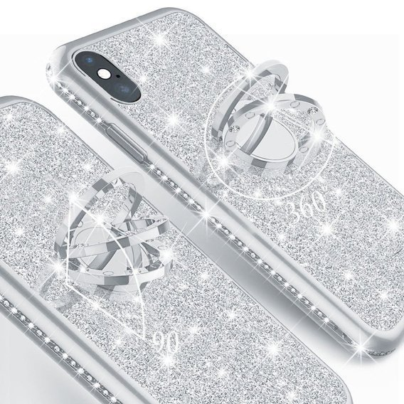 Etui do Apple iPhone X / XS - ERBORD Bling - Silver