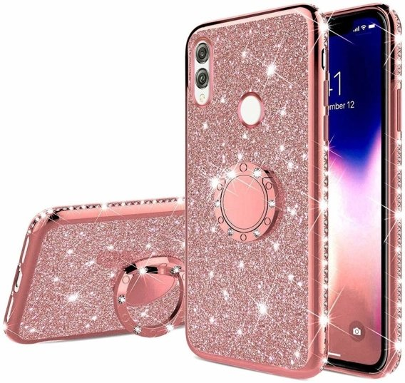 Etui do Huawei Honor 8x - ERBORD Bling - Rose Gold