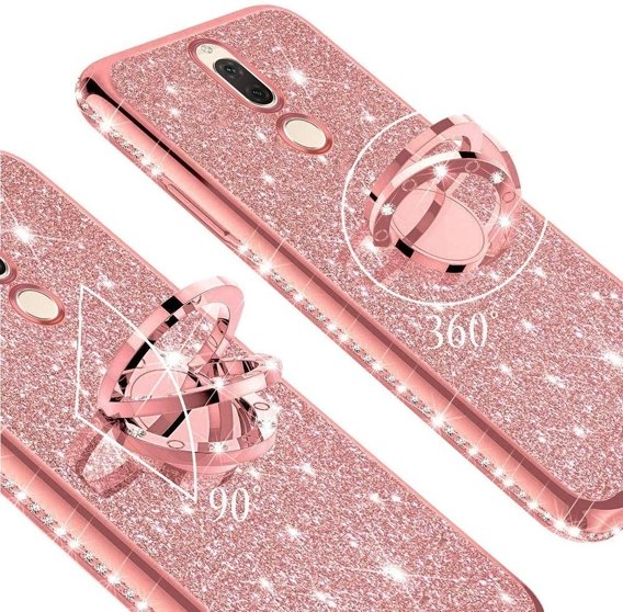 Etui do Huawei Mate 10 Lite - ERBORD Bling - Rose Gold