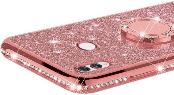 Etui do Huawei P Smart 2019 - ERBORD Bling - Rose Gold